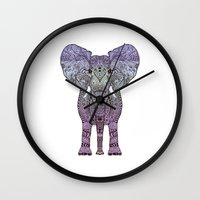 ornate elephant Wall Clocks featuring ELEPHANt by Monika Strigel