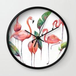 Pink Flamingos with some Strelizia Foliage Wall Clock
