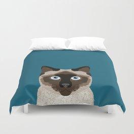 Ezra - Siamese Cat, Cute Kitten Retro Cat Art cell phone case, siamese, cute cat Duvet Cover