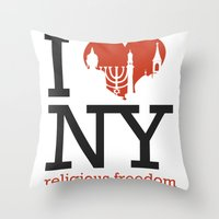 religious Throw Pillows featuring Luv New York Religious Freedom by The Mindful