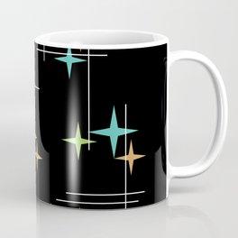 Mid Century Modern Stars Black Turquoise Chartreuse Orange Coffee Mug