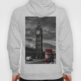 London - Big Ben with Red Bus bw red Hoody