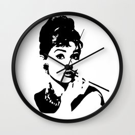 CHRISTMAS WITH  AUDREY THE 1960's FASHION ICON AND MOVIE STAR GIFT WRAPPED FOR YOU BY MONOFACES  Wall Clock