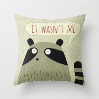 raccoon Throw Pillows featuring Raccoon by Fuzzorama