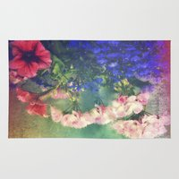 olivia joy Area & Throw Rugs featuring Flowers of my joy by Victoria Herrera