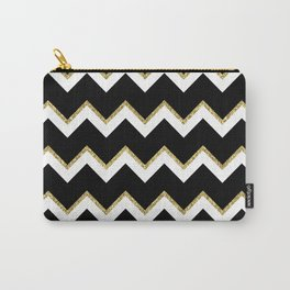 Black Gold White Chevron Pattern Carry-All Pouch
