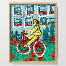 Bicycle Girl Serving Tray