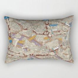 Illustrated map of Berlin-Mitte. Sepia Rectangular Pillow