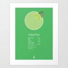 Mojito Cocktail Recipe Poster (Metric) Art Print
