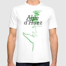 Famous Climbs: Alpe d'Huez 1, Modern White Mens Fitted Tee SMALL
