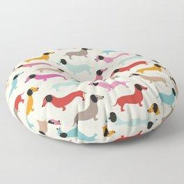 Sweet retro dachshund doxie puppy pattern Floor Pillow