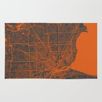 detroit Area & Throw Rugs featuring Detroit map by Map Map Maps