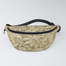 Vintage Taupe Leaves - Antique Leaf Design Fanny Pack