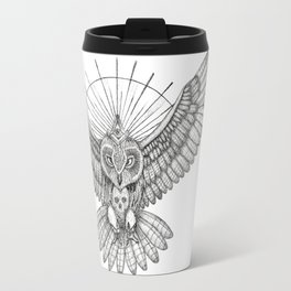 Mason Owl with skull, rule, compass and the eye that sees everything (tattoo style) Travel Mug