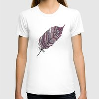 feather T-shirts featuring FEATHER by Monika Strigel®