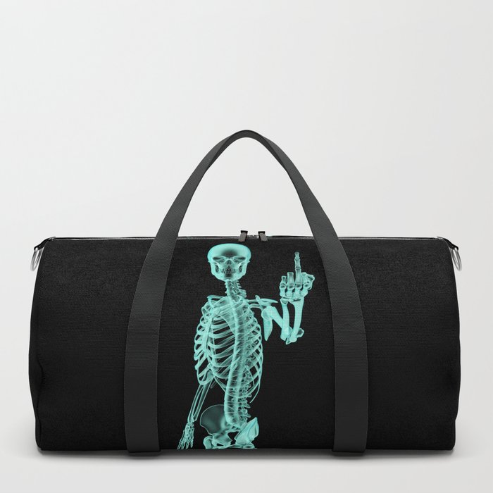 X-ray Bird / X-rayed skeleton demonstrating international hand gesture Duffle Bag