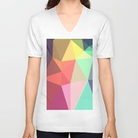 clock V-neck T-shirts featuring peace by contemporary