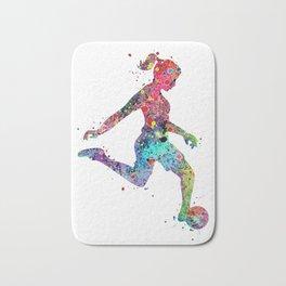 Girl Soccer Player Watercolor Sports Art Bath Mat