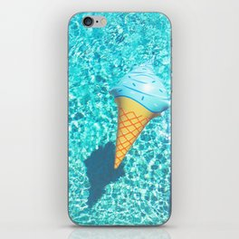 blue ice cream cone float all up in my pool yo iPhone Skin