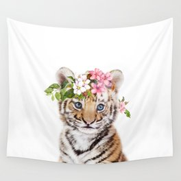 Tiger Cub with Flower Crown Wall Tapestry