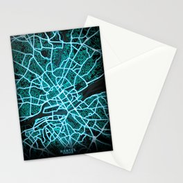 Nantes, France, Blue, White, Neon, Glow, City, Map Stationery Cards