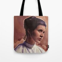 leia Tote Bags featuring Leia by Jackie Sullivan
