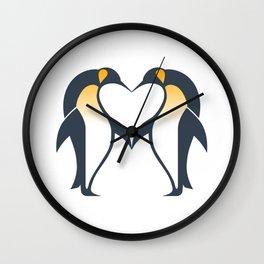 Kissing penguins Wall Clock