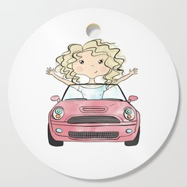 Girl Driving A Car Cutting Board