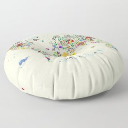 Animal Map of the World Floor Pillow