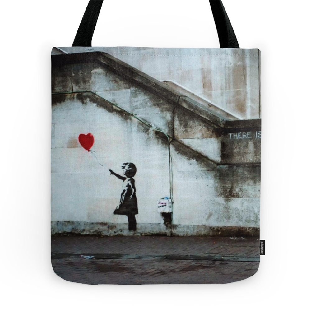 Banksy Street Art / Photograph - Girl With Red Ballon Tote Purse by easyposters (TBG8091205) photo