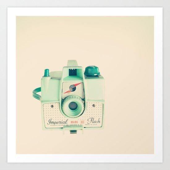 The Mint Camera on beige soft Background  Art Print