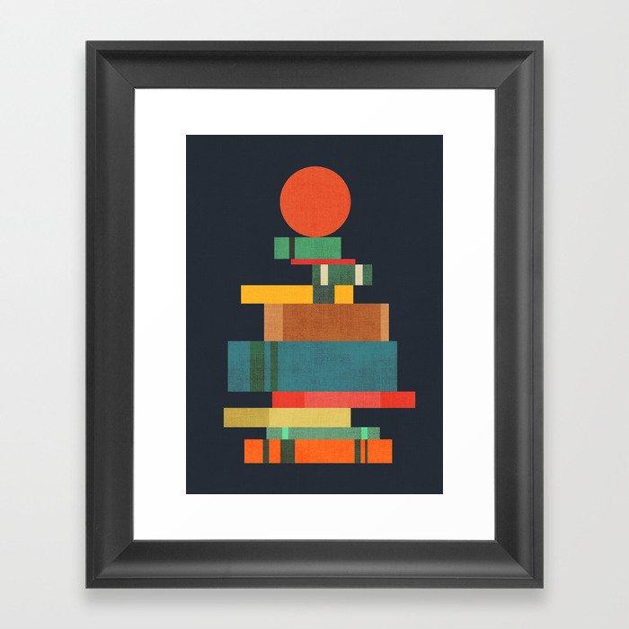 Book stack with a ball Gerahmter Kunstdruck