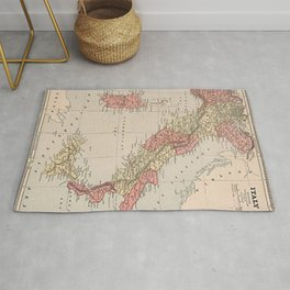 Vintage Italy Map 1883 Rug