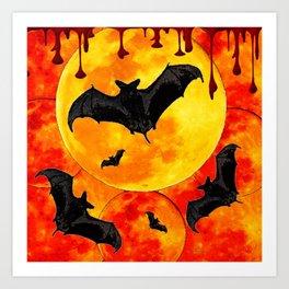 Bloody Full Moon Bats Art Print