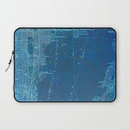13-Miami Florida 1950, blue vintage map Laptop Sleeve
