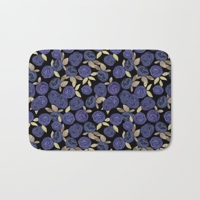 Blue watercolor roses on a black background . Bath Mat