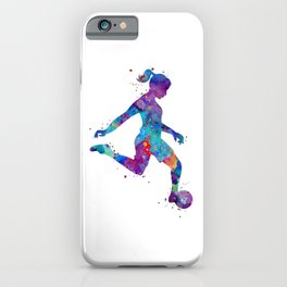 Soccer Girl Player Watercolor Art Gift Sports Art iPhone Case