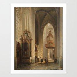 Belgian School (19th Century) Interior view of Namur Cathedral Art Print