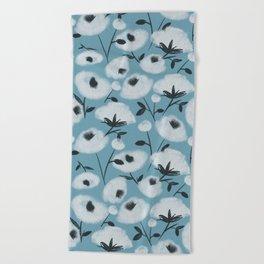 Cotton Flowers on Blue Pattern Beach Towel
