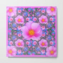 Pink Wild Roses & Blue Flowers Art Pattern Metal Print