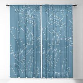 Monstera No2 Blue Sheer Curtain