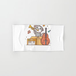 Cute cat playing jazz music in box with saxophone, piano and contrabass Hand & Bath Towel
