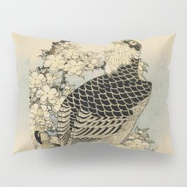 Hokusai -falcon next to a plum tree in bloom - 葛飾 北斎,hawk,bird. Pillow Sham