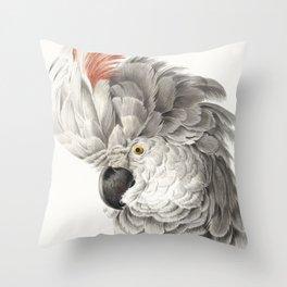 Vintage Tropical Cockatoo Illustration Throw Pillow