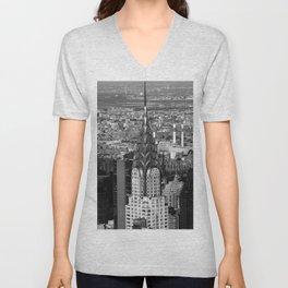 New York Skyline Skyscraper black and white Photographic Print Unisex V-Neck