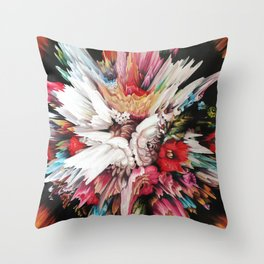 Floral Glitch II Throw Pillow