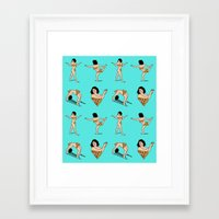 broad city Framed Art Prints featuring BROAD CITY. Ilana Art Model (skyblue pattern) by Bluetiz