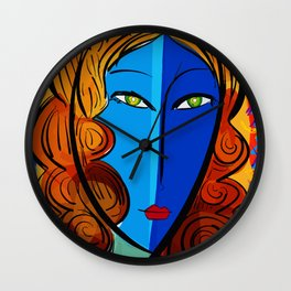 Blue Girl série portrait pop and fauve art Wall Clock
