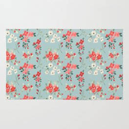 Ditsy Pink and White Floral Pattern Rug