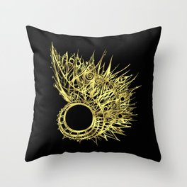 GOLDEN CURL - SHINING PAINTING ON BLACK BACKGROUND Throw Pillow